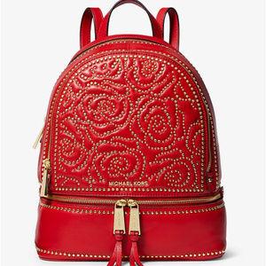 MK Rhea Medium Rose Studded Leather Backpack